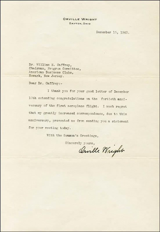 Image 1 for Orville Wright - Typed Letter Signed 12/15/1943 - HFSID 160226
