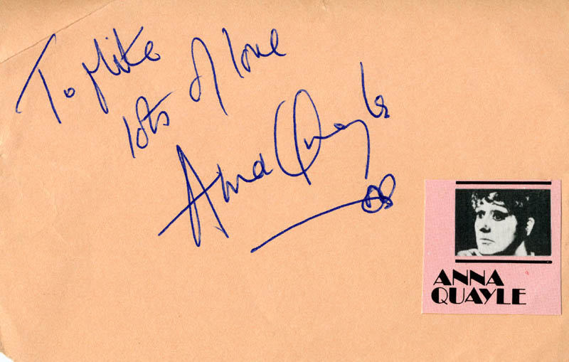Image 1 for Anna Quayle - Autograph Note Signed - HFSID 160341