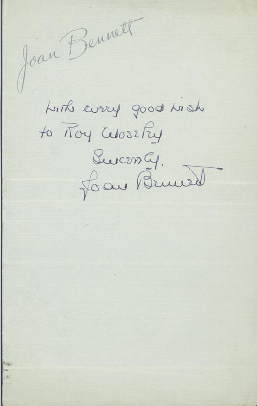 Image 1 for Joan Bennett - Autograph Note Signed - HFSID 160369