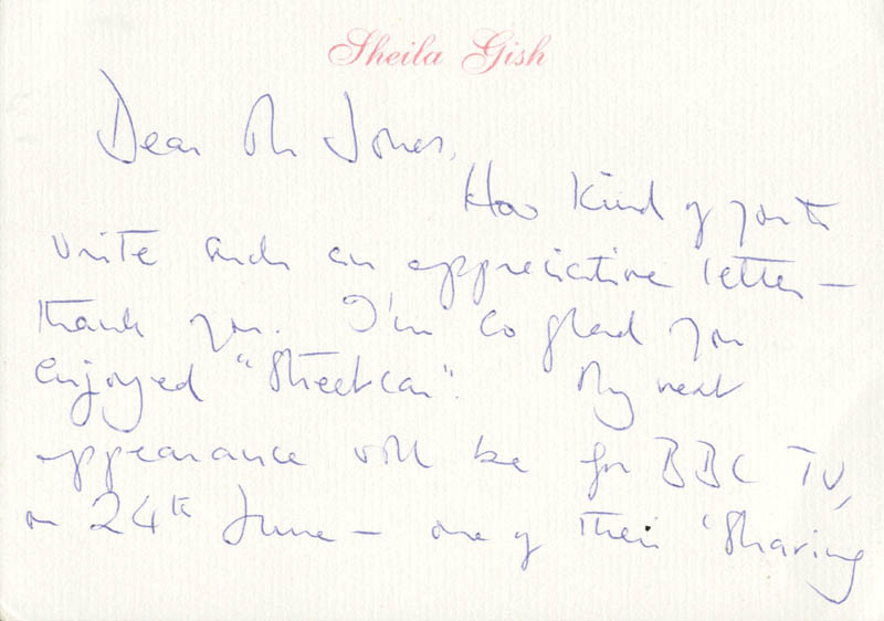 Image 3 for Sheila Gish - Autograph Letter Signed - HFSID 160379