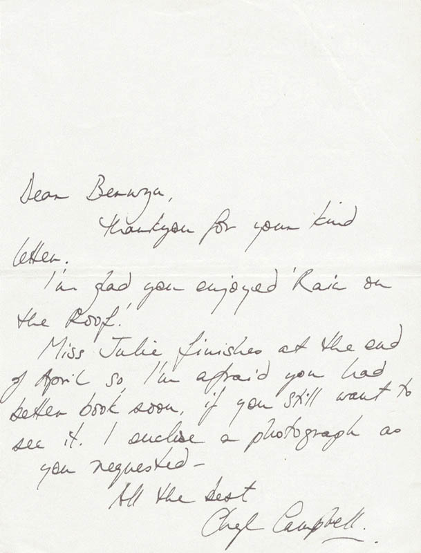 Image 1 for Cheryl Campbell - Autograph Letter Signed - HFSID 160385