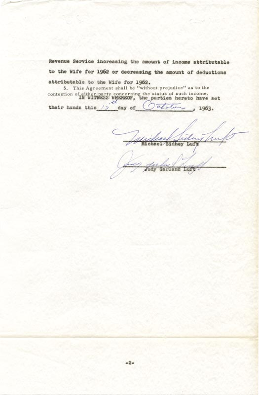 Image 1 for Judy Garland - Document Signed 10/15/1963 co-signed by: Sidney Luft - HFSID 160697