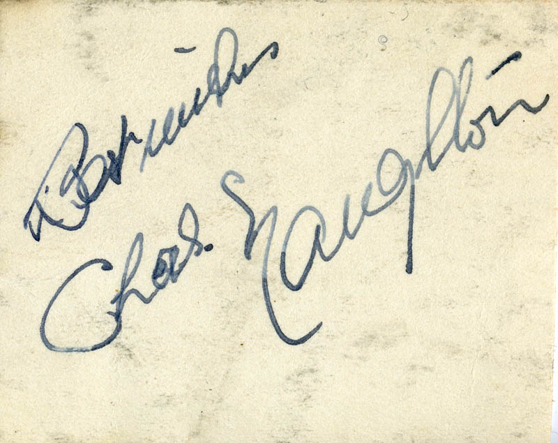 Image 1 for Charles Naughton - Autograph Sentiment Signed - HFSID 160789