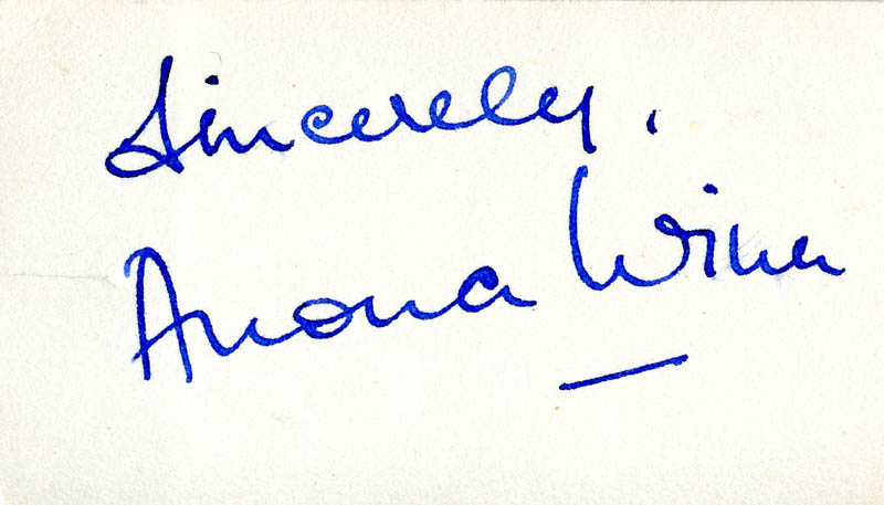 Image 1 for Anona Winn - Autograph Sentiment Signed - HFSID 160793