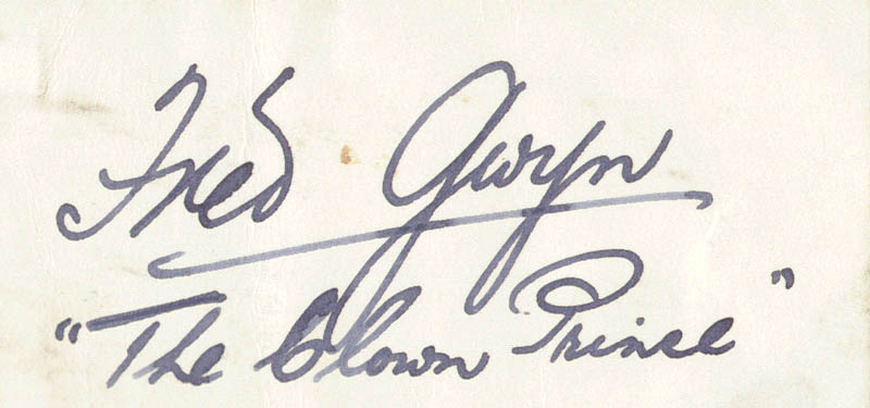 Image 1 for Fred 'The Clown Prince' Gwyn - Autograph - HFSID 160890
