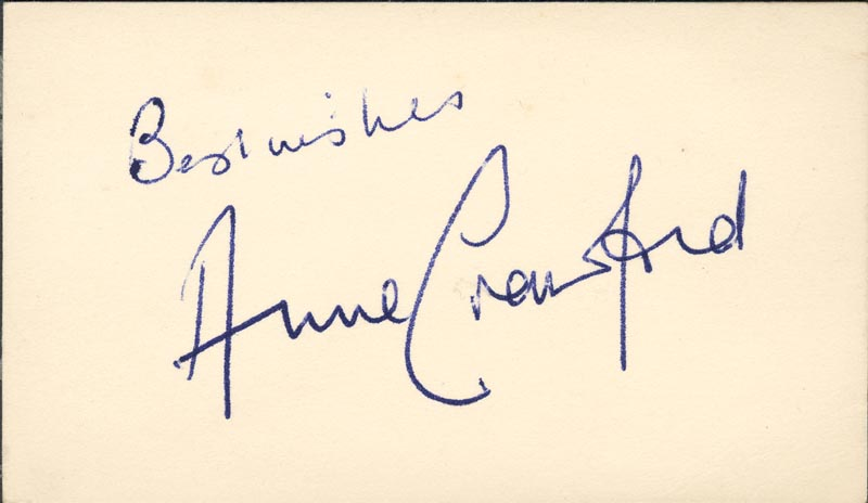 Image 1 for Anne Crawford - Autograph Sentiment Signed - HFSID 161094