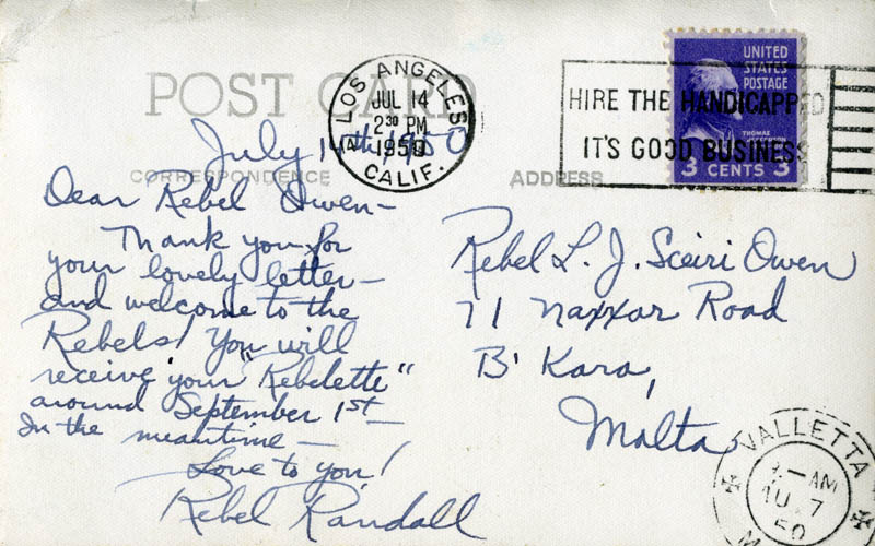 Image 1 for Rebel Randall - Autograph Letter Signed Circa 1950 - HFSID 161312