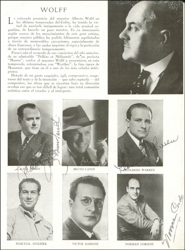 Image 1 for Raoul Jobin - Magazine Photograph Signed co-signed by: Leonard Warren, Norman Cordon, Bruno Landi - HFSID 161326