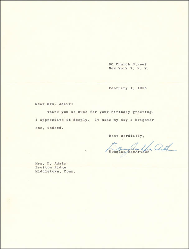 Image 1 for General Douglas Macarthur - Typed Letter Signed 02/01/1955 - HFSID 161470