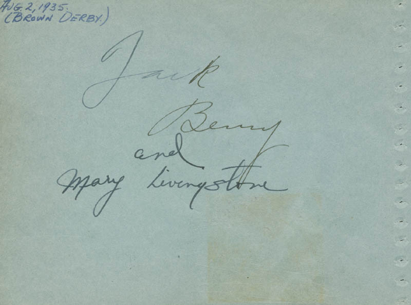 Image 1 for Jack Benny - Autograph Circa 1935 co-signed by: Mary (Mrs. Jack Benny) Livingstone, Joan Crawford - HFSID 161472