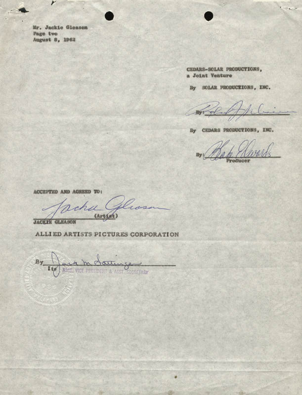 Image 1 for Jackie 'The Great One' Gleason - Contract Signed 08/08/1962 co-signed by: Blake Edwards - HFSID 161473
