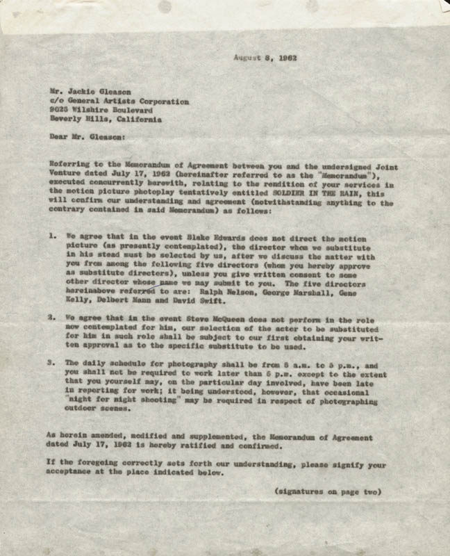 Image 3 for Jackie 'The Great One' Gleason - Contract Signed 08/08/1962 co-signed by: Blake Edwards - HFSID 161473