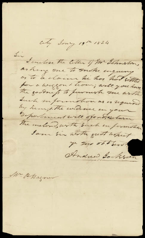 Image 1 for President Andrew Jackson - Autograph Letter Signed 01/19/1824 - HFSID 16359
