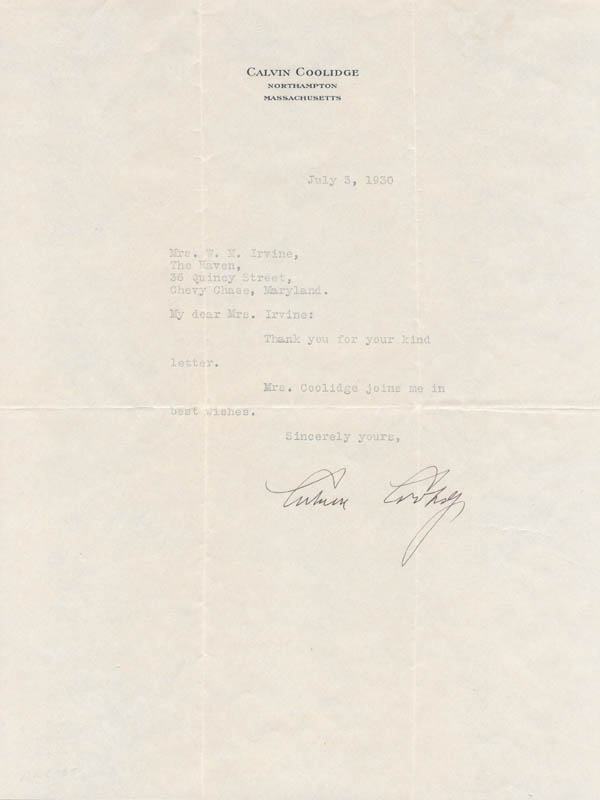 Image 1 for President Calvin Coolidge - Typed Letter Signed 07/03/1930 - HFSID 16385