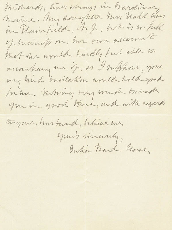 Image 1 for Julia Ward Howe - Autograph Letter Signed 01/15/1900 - HFSID 16400