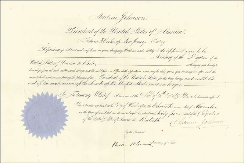 Image 1 for President Andrew Johnson - Diplomatic Appointment Signed 11/11/1865 co-signed by: William H. Seward - HFSID 16427