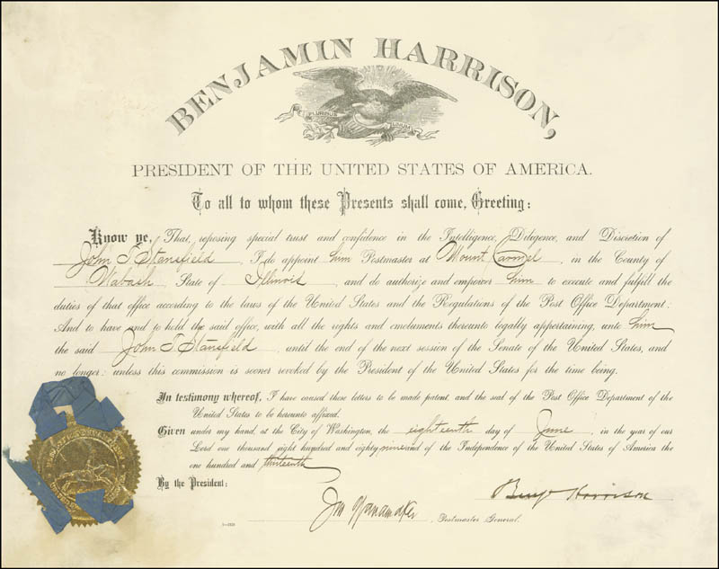 Image 3 for President Benjamin Harrison - Civil Appointment Signed 07/18/1889 - HFSID 16439