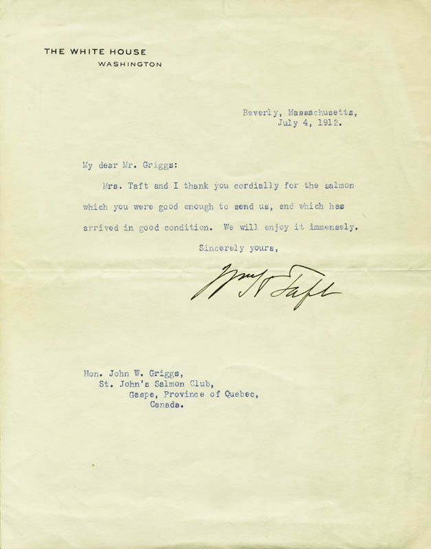 Image 1 for President William H. Taft - Typed Letter Signed 07/04/1912 - HFSID 16474