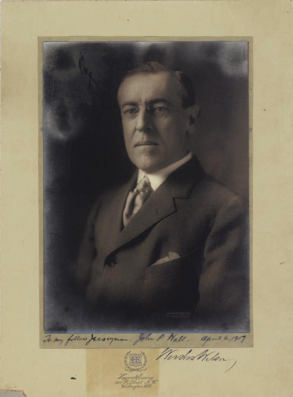 Image 1 for President Woodrow Wilson - Inscribed Photograph Mount Signed 04/06/1917 - HFSID 16509