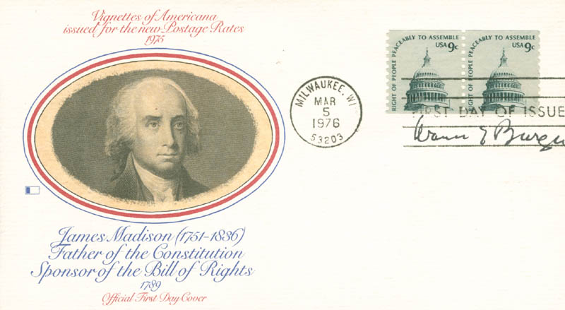Image 1 for Chief Justice Warren E. Burger - First Day Cover Signed - HFSID 165108
