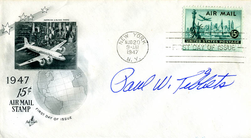Image 1 for Enola Gay Crew (Paul W. Tibbets) - First Day Cover Signed - HFSID 165132