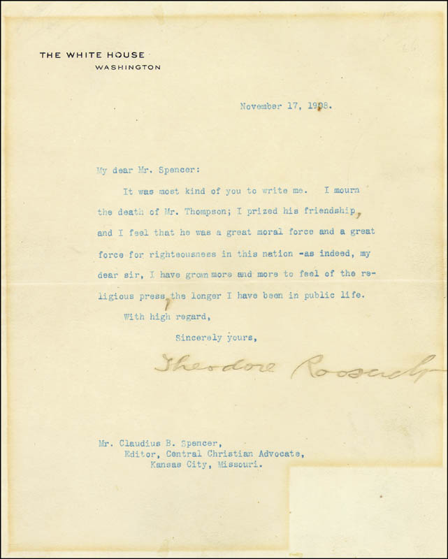 Image 1 for President Theodore Roosevelt - Typed Letter Signed 11/17/1908 - HFSID 16514