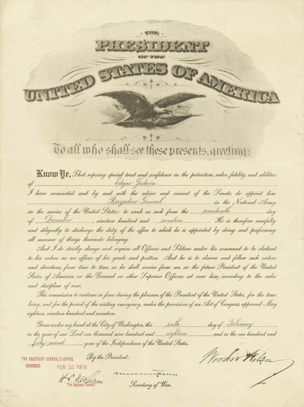 PRESIDENT WOODROW WILSON - MILITARY APPOINTMENT SIGNED 02/06/1918 CO-SIGNED BY: NEWTON D. BAKER - DOCUMENT 16521