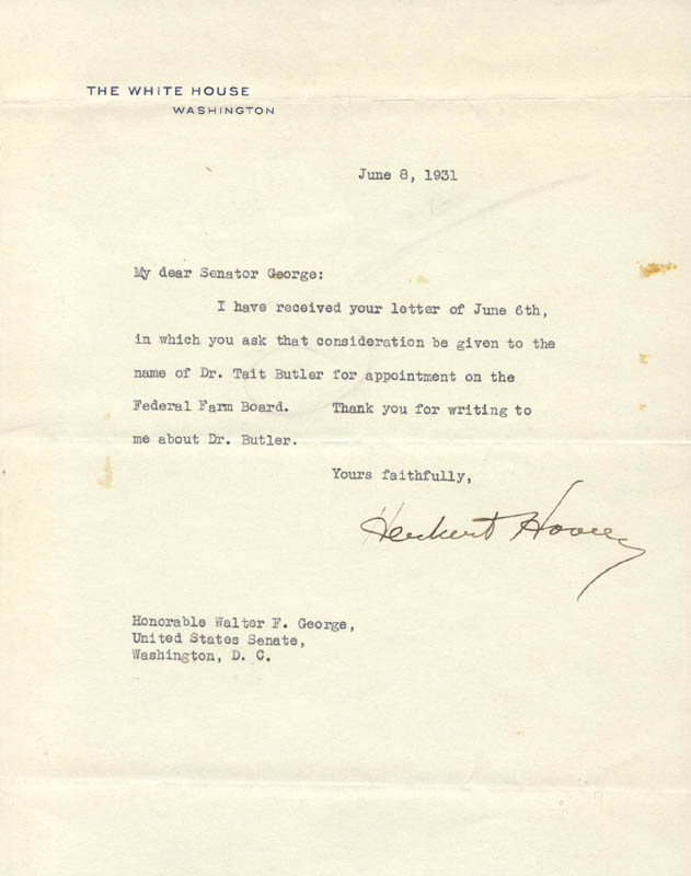 Image 1 for President Herbert Hoover - Typed Letter Signed 06/08/1931 - HFSID 16524