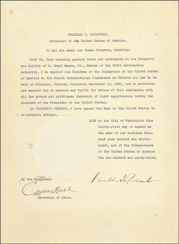 Image 1 for President Franklin D. Roosevelt - Civil Appointment Signed 08/31/1938 co-signed by: Cordell Hull - HFSID 16530