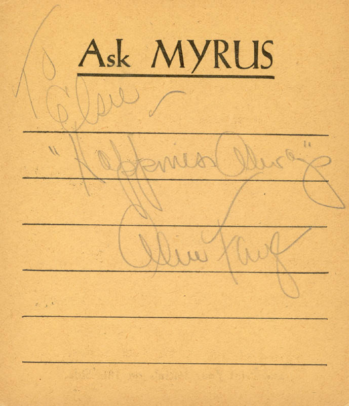 Image 1 for Alice Faye - Autograph Note Signed Circa 1938 - HFSID 165319
