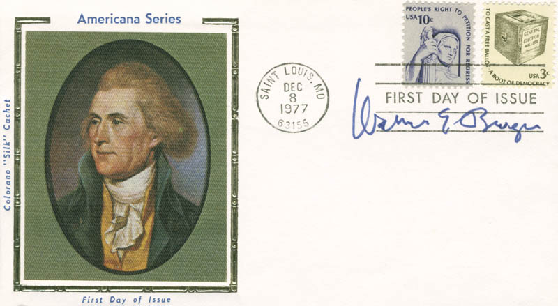 Image 1 for Chief Justice Warren E. Burger - First Day Cover Signed - HFSID 165477