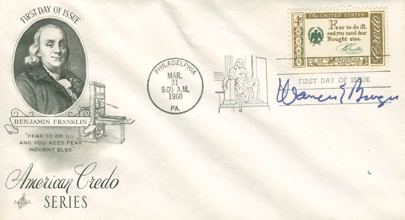 Image 1 for Chief Justice Warren E. Burger - First Day Cover Signed - HFSID 165480
