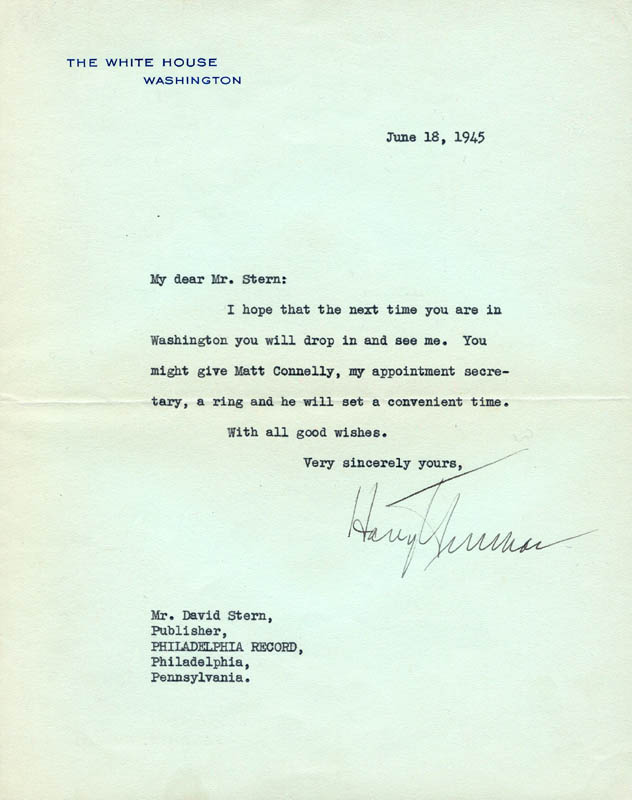 Image 1 for President Harry S Truman - Typed Letter Signed 06/18/1945 - HFSID 16556