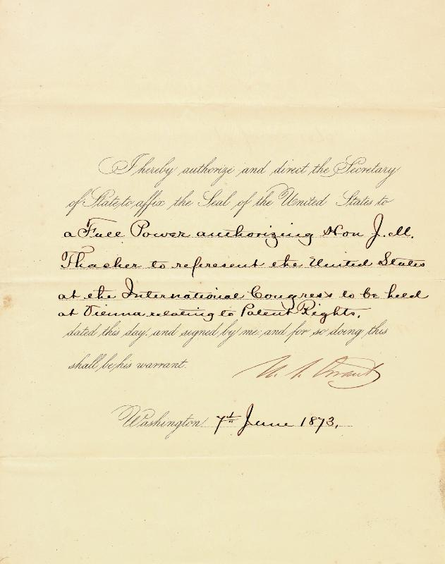 Image 1 for President Ulysses S. Grant - Presidential Warrant Signed 06/07/1873 - HFSID 16563
