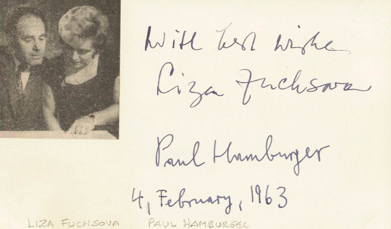 Image 1 for Liza Fuchsova - Autograph Sentiment Signed 02/04/1963 co-signed by: Paul Hamburger - HFSID 165726