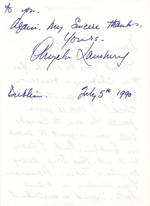 Image 1 for Angela Lansbury - Autograph Letter Signed 07/05/1990 - HFSID 165766
