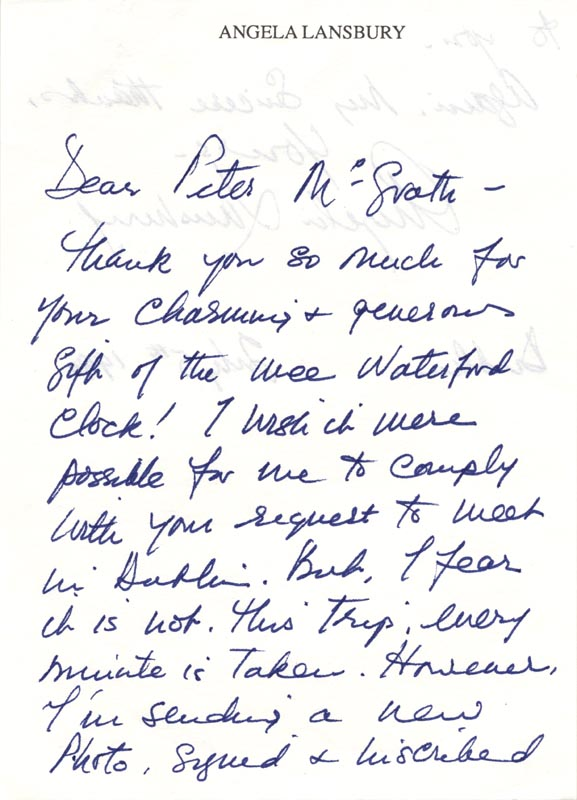 Image 3 for Angela Lansbury - Autograph Letter Signed 07/05/1990 - HFSID 165766