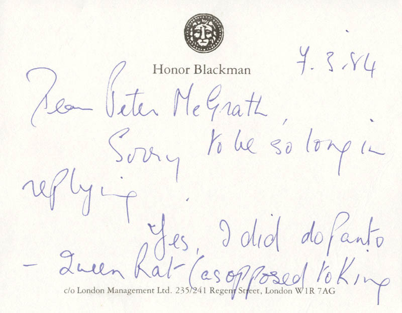 Image 3 for Honor Blackman - Autograph Note Signed 03/04/1984 - HFSID 165771
