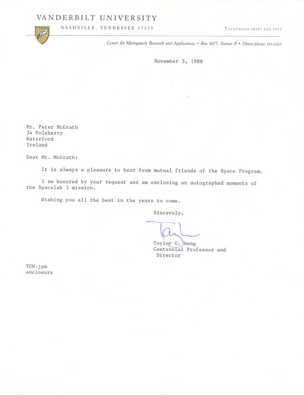 Image 1 for Taylor Wang - Typed Letter Signed 11/03/1988 - HFSID 165781