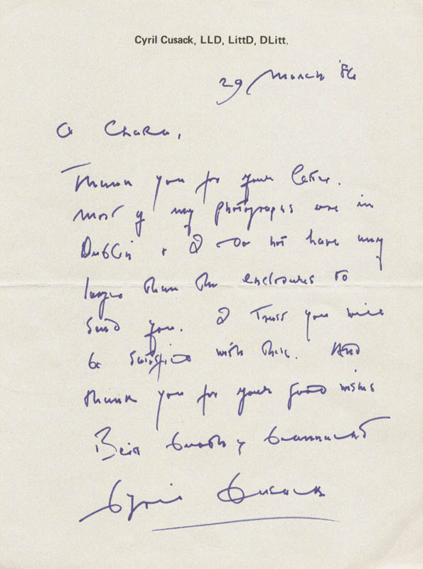 Image 1 for Cyril Cusack - Autograph Letter Signed 03/29/1986 - HFSID 165789