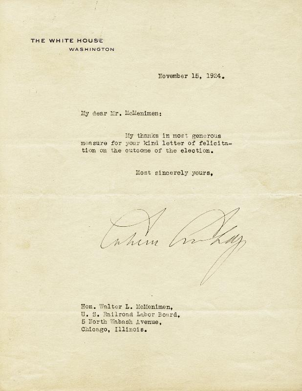 Image 1 for President Calvin Coolidge - Typed Letter Signed 11/15/1924 - HFSID 16580