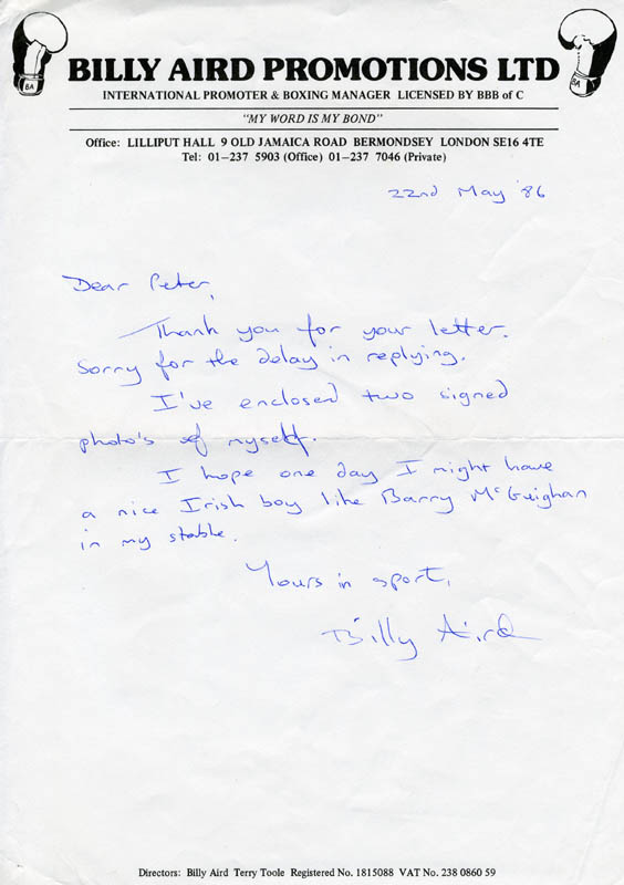 Image 1 for Billy Aird - Autograph Letter Signed 05/22/1986 - HFSID 165821