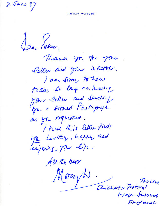 Image 1 for Moray Watson - Autograph Letter Signed 06/02/1987 - HFSID 165827