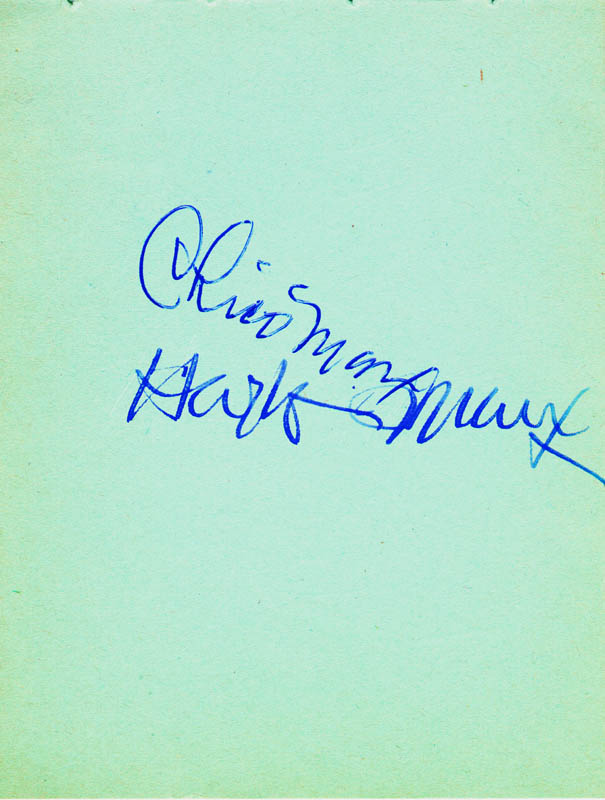 Image 1 for Chico (Leonard) Marx - Autograph co-signed by: Harpo (Adolph) Marx - HFSID 165851