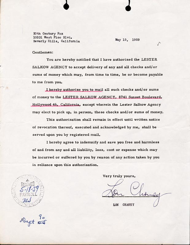 Image 1 for Lon Chaney Jr. - Document Signed 05/15/1959 - HFSID 165976