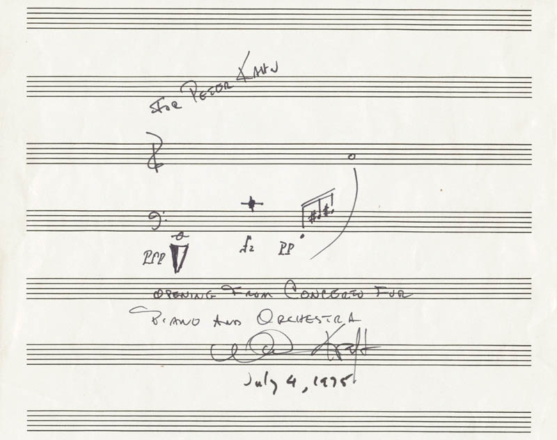 Image 1 for William Kraft - Autograph Musical Quotation Signed 07/04/1975 - HFSID 166001