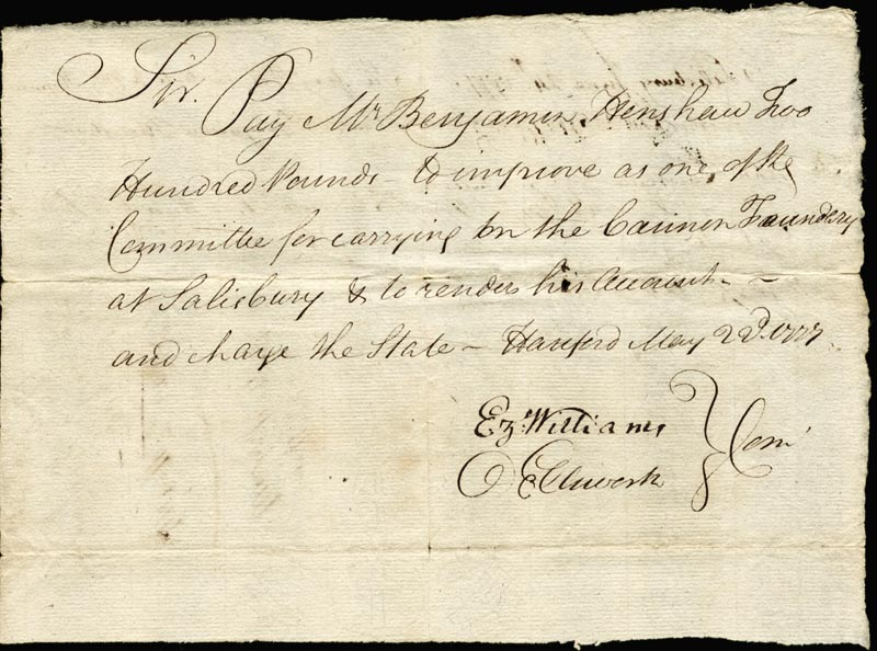 Image 1 for Chief Justice Oliver Ellsworth - Autograph Document Signed 05/22/1777 co-signed by: Ezekiel Williams - HFSID 166007