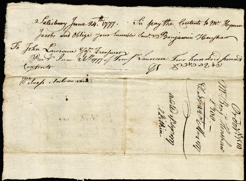 Image 3 for Chief Justice Oliver Ellsworth - Autograph Document Signed 05/22/1777 co-signed by: Ezekiel Williams - HFSID 166007