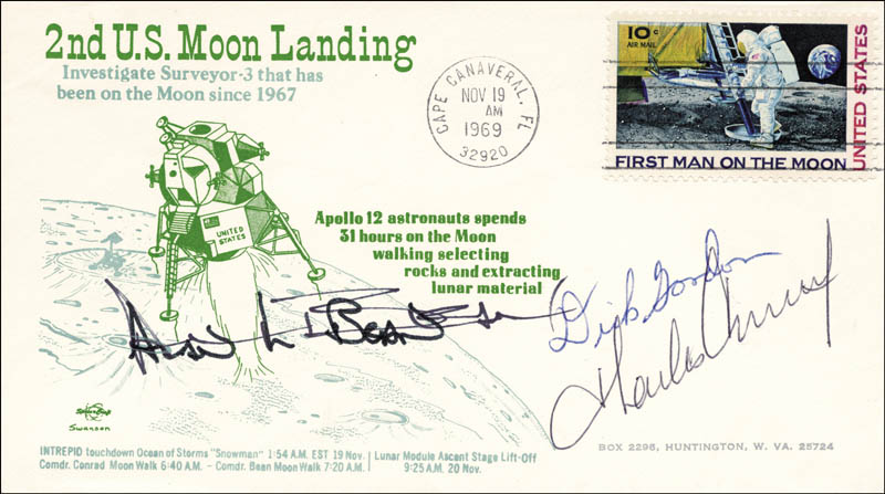 Image 1 for Captain Charles 'Pete' Conrad Jr. - First Day Cover Signed co-signed by: Captain Alan L. Bean, Captain Richard F. 'Dick' Gordon Jr. - HFSID 166099