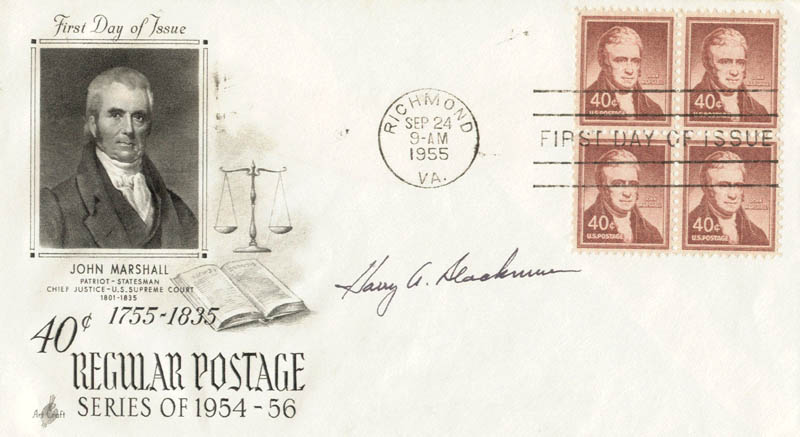 Image 1 for Associate Justice Harry A. Blackmun - First Day Cover Signed - HFSID 166207